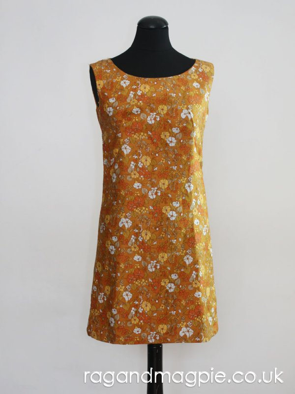 1960s Amber Yellow Short Floral Shift Dress