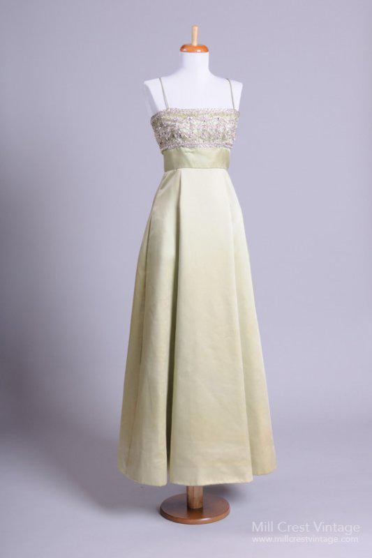 1960's Duchess Satin Vintage Evening Gown
