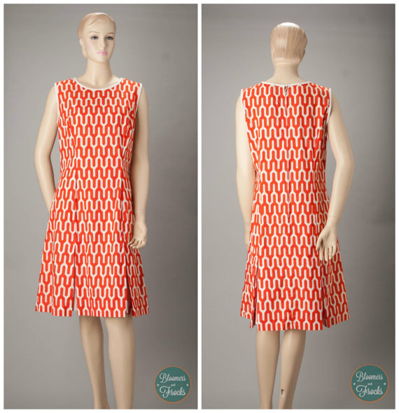 1960s Designer Brooke Cadwallader Orange and White Mod Print Dress