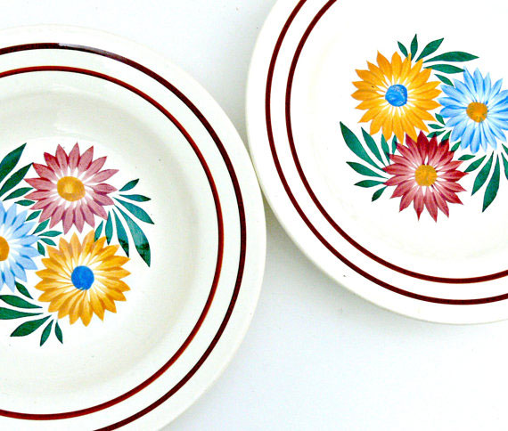 Antique French Bowls - Hand Painted Set of 2 - Choisy le Roi Pottery