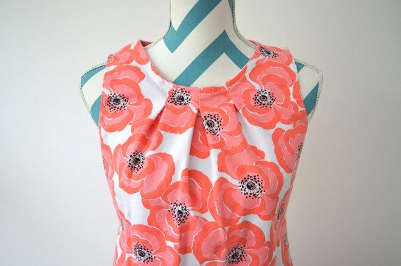 1960s Poppy Print Cotton Shift Mini Dress