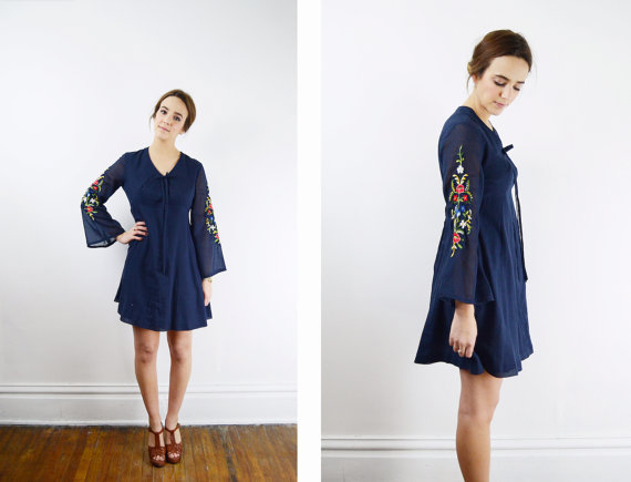 1960s Navy Embroidered Mini Dress