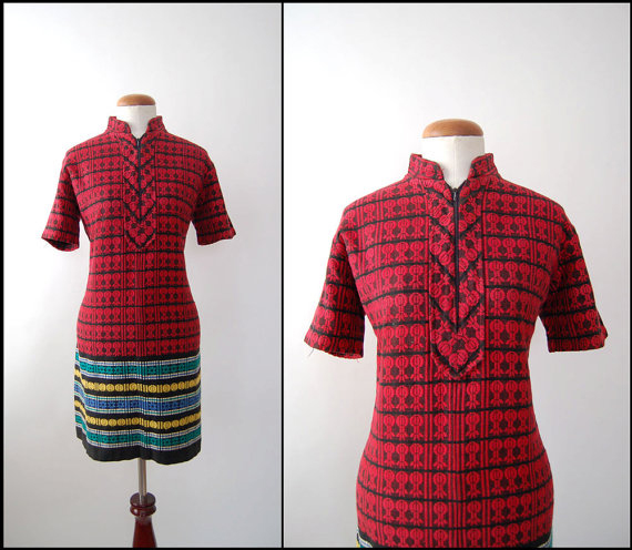 1960s Woven Patterned Vintage Mini Dress