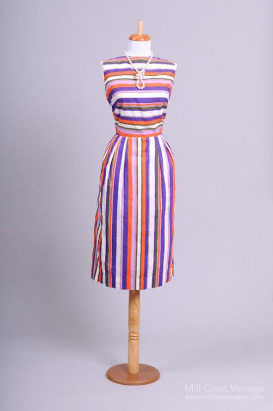 1950 Multi Colored Striped Vintage Sun Dress