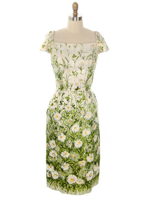 Vintage Day Dress Scarf Silk Daisy Print Wiggle Dress 1950s