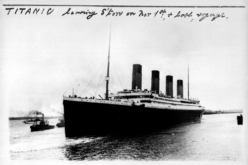 The Titanic leaving Southampton on it's first and last voyage