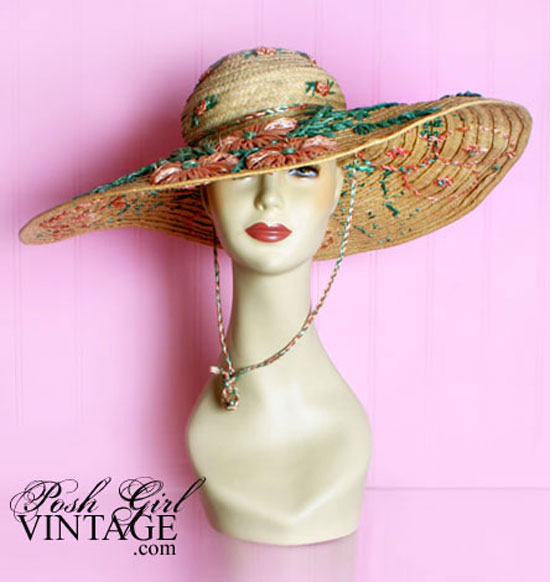 1950's Really Big Straw Sun Hat