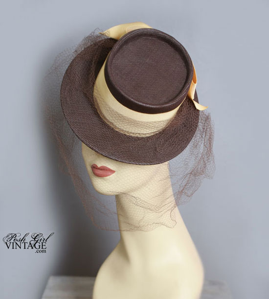 1930's Brown & Yellow Tilt Top Veiled Hat