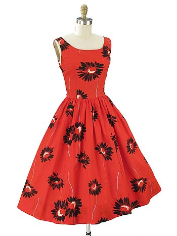 50s/60s Teena Paige Red Black Floral Print Full Skirt Dress