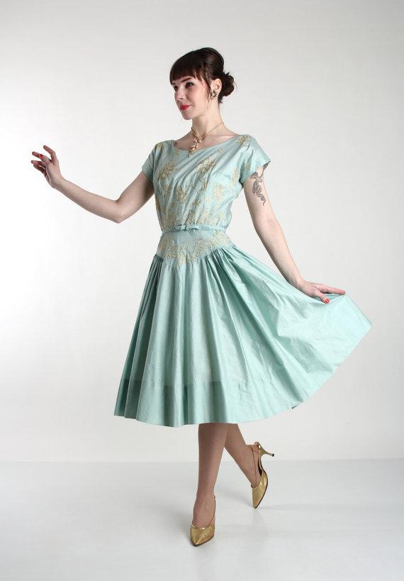 1950s Dress Gold Detail