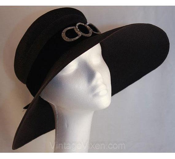 Titanic Era 1910s Black Wide Brimmed Antique Straw Hat with Rhinestone & Marcasite