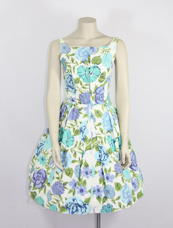 1950s Vintage Dress - Blue Aqua Green and White Cotton Sundress