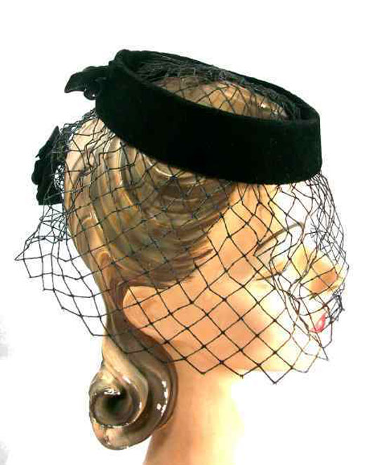 Vintage Black Whisper Velvet Cocktail Hat w/Net 1950s