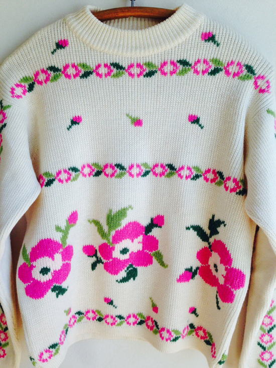 1960s Vintage Pink Green Floral Italian Wool Sweater