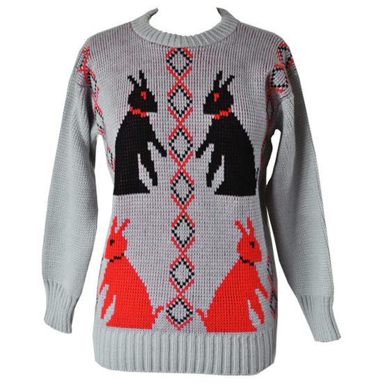 Picture knit vintage 1980s rabbit jumper