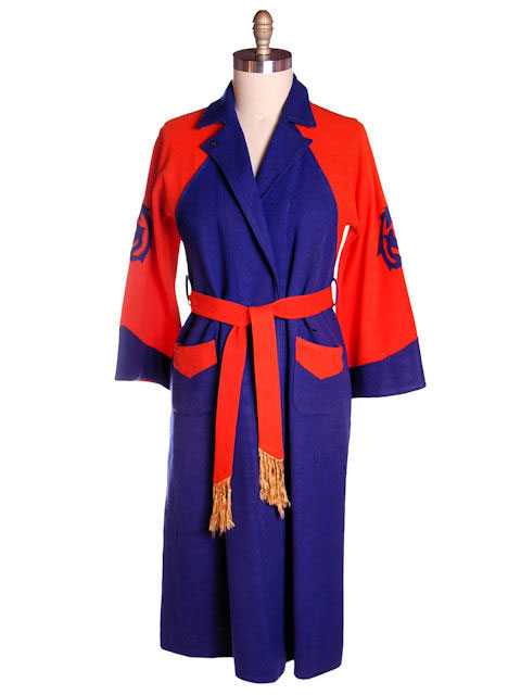 VINTAGE MENS WOOL ROBE EARLY BUCKNELL UNIVERSITY ORANGE & PURPLE 1920S