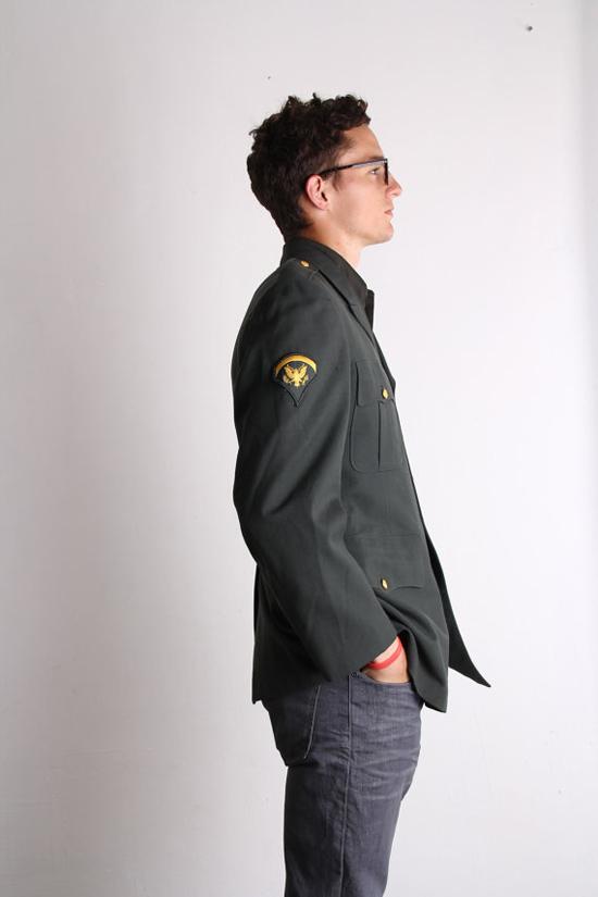 Army Green Men's Blazer . 1960s Vintage