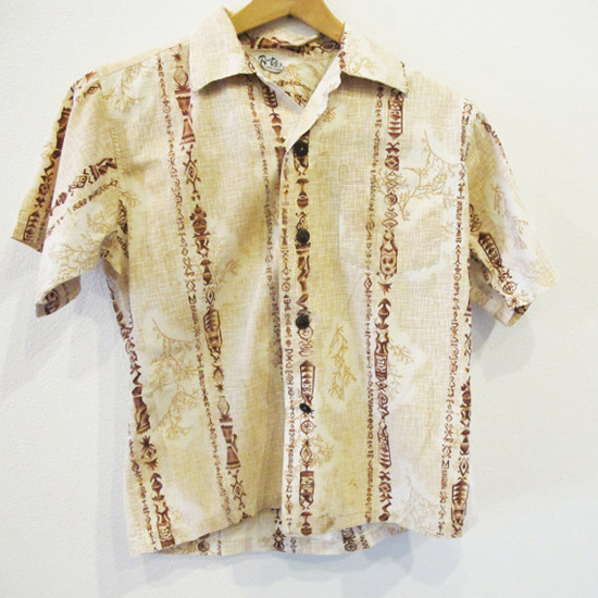 950s Beige Hawaiian Men's Shirt