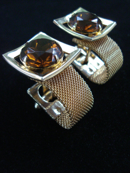 Vintage 1970s French Cufflinks Gold Mesh