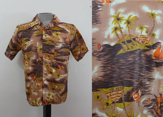 Vintage 1950s Hawaiian Shirt Mens