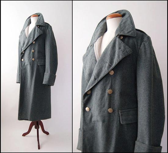 Vintage Swiss Military Wool Great Coat