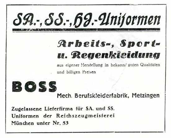 Hugo Boss advert for Nazi uniforms from 1933