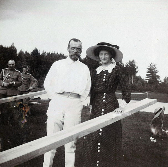 Tsar Nicholas II of Russia with his daughter Grand Duchess Tatiana Nikolaevna of Russia at Finnish archipelago, Imperial tennis park Virolahti.