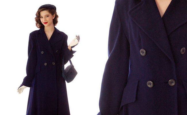 Vintage Womens Coat 1940s Double Breasted