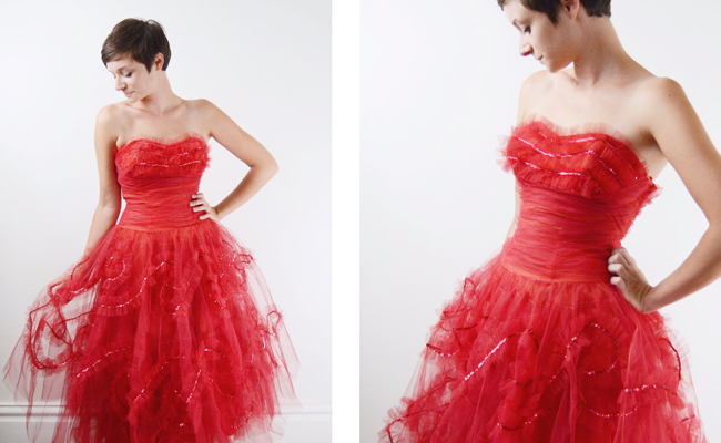 1950s Red Tulle Party Dress