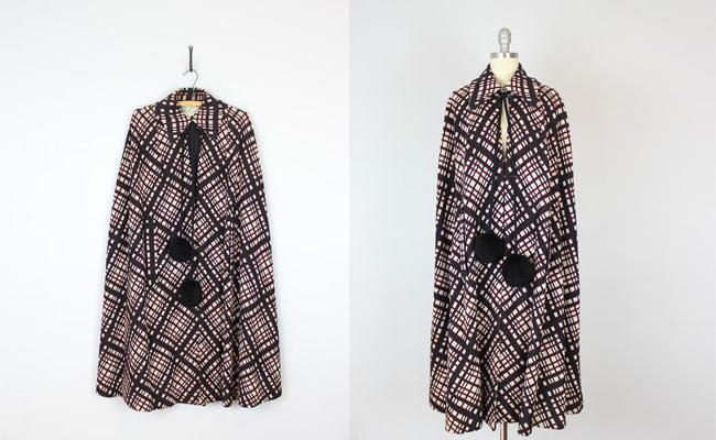 1970s mod plaid cape