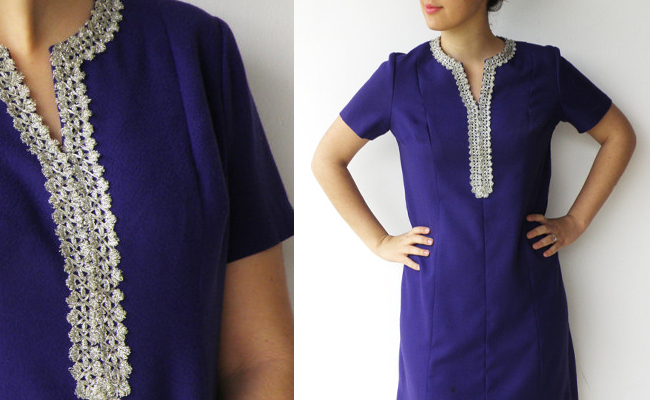 Vintage 1970s Purple and Silver Embroidered Dress