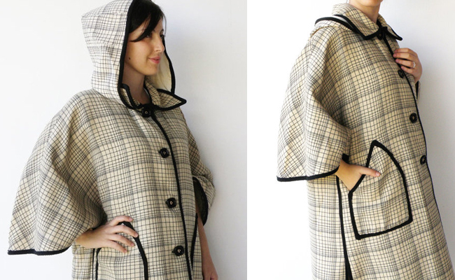 Vintage Cream and Coal Square Button-Up Hooded Cape