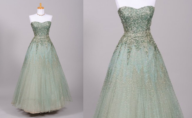 1950 GREEN SEQUIN VINTAGE BALL GOWN