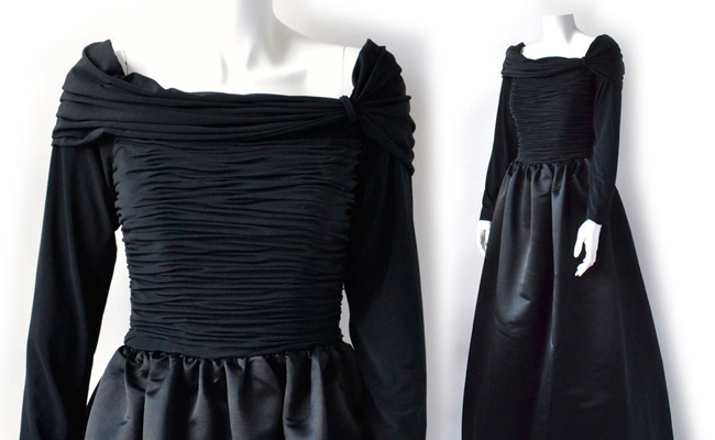 80s black silk Victor Costa ball gown with ruched bodice