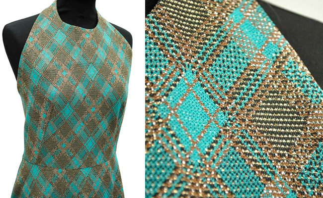 Vintage 70s Turquoise Metallic Lurex Halterneck Maxi Dress