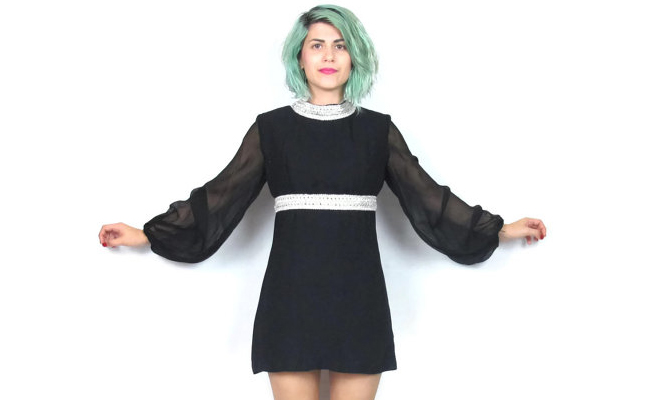 1960s Sheer Black Mini Dress Long Sleeves Party Dress