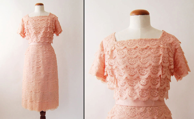 1960s Pink Lace Short Sleeve Vintage Wiggle Dress
