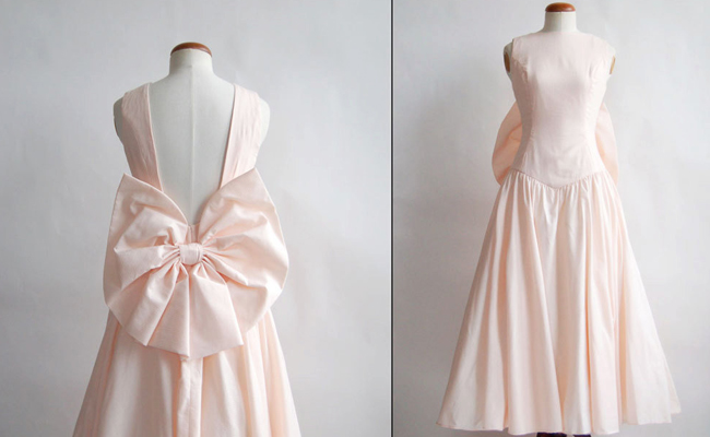 1980s Pink Cotton Backless Dress with Bow