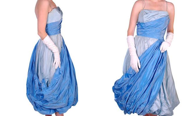 Vintage Blue Taffeta Dress
