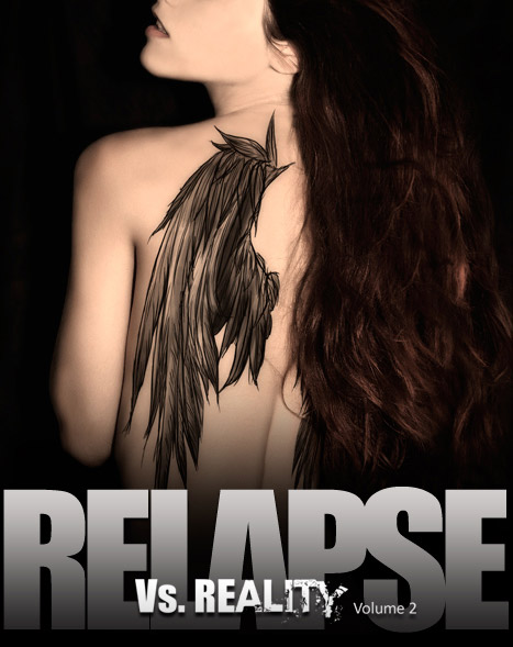 The back cover of Relapse, book two in the Vs. Reality series with the lovely model Maria Angelopoulou