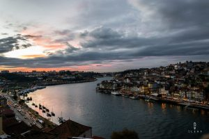Douro river in Porto by sunset