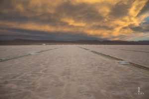 Orange clouds during the sunset on the Salinas Grandes in Argentina
