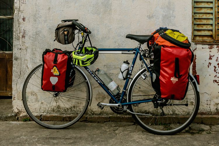bicycle packed with ortlieb panniers
