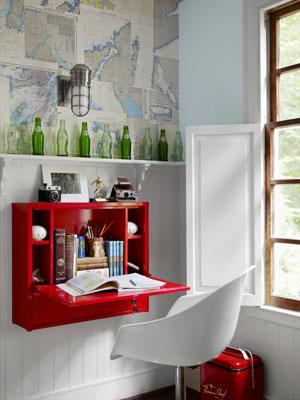 Wall mounted secretary desk (via Country Living)