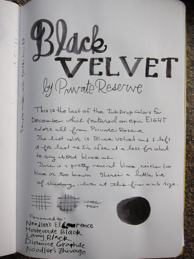 Private Reserve Black Velvet Writing Sample
