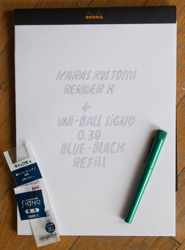 Render K Uni Ball Signo Refill Writing Sample