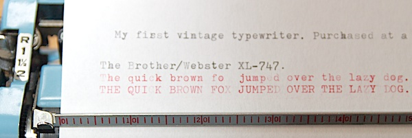 Webster Brother XL-747 typing sample