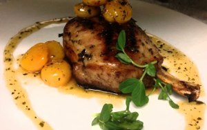 Chopps American Bar and Grill_Grilled Pork Chop with Caramelized Apricots and Picked Thyme