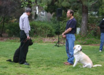 "Jim & ""Shadow"" greet Dave and ""Jake"" during the CGC test"