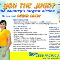 Cebu Pacific Job Hiring of Female Cabin Crew and Pilots